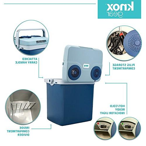 Knox Cooler Warmer for Car and Home with Automatic Locking Handle Quart – 30 - Dual 110V House Vehicle