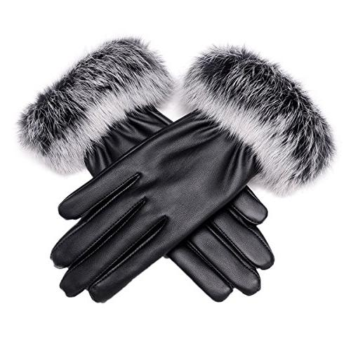 Women Winter Touch Screen PU Leather Gloves - WITERY Thick W