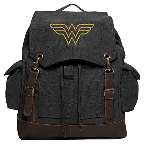 Wonder Woman Symbol Canvas Rucksack Backpack w/Leather Strap