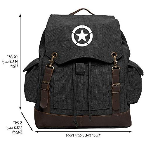 World War 2 Military Jeep Star Rucksack Backpack w/ Leather