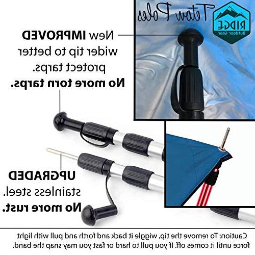 Ridge Gear Telescoping Tarp 2.75ft to 8ft, Rods, Extending Portable Collapsible for Camper Tarpaulin Camping
