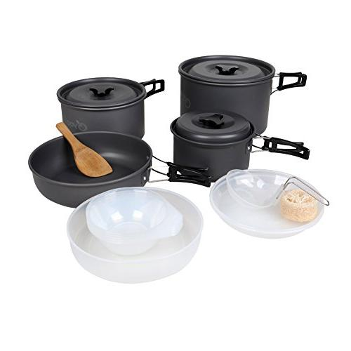 anodized aluminum camping cookware set