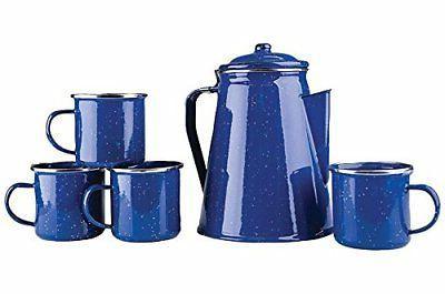 Camping 8 Cup Blue Enamel Percolator Coffee Pot. RV Fire Pit