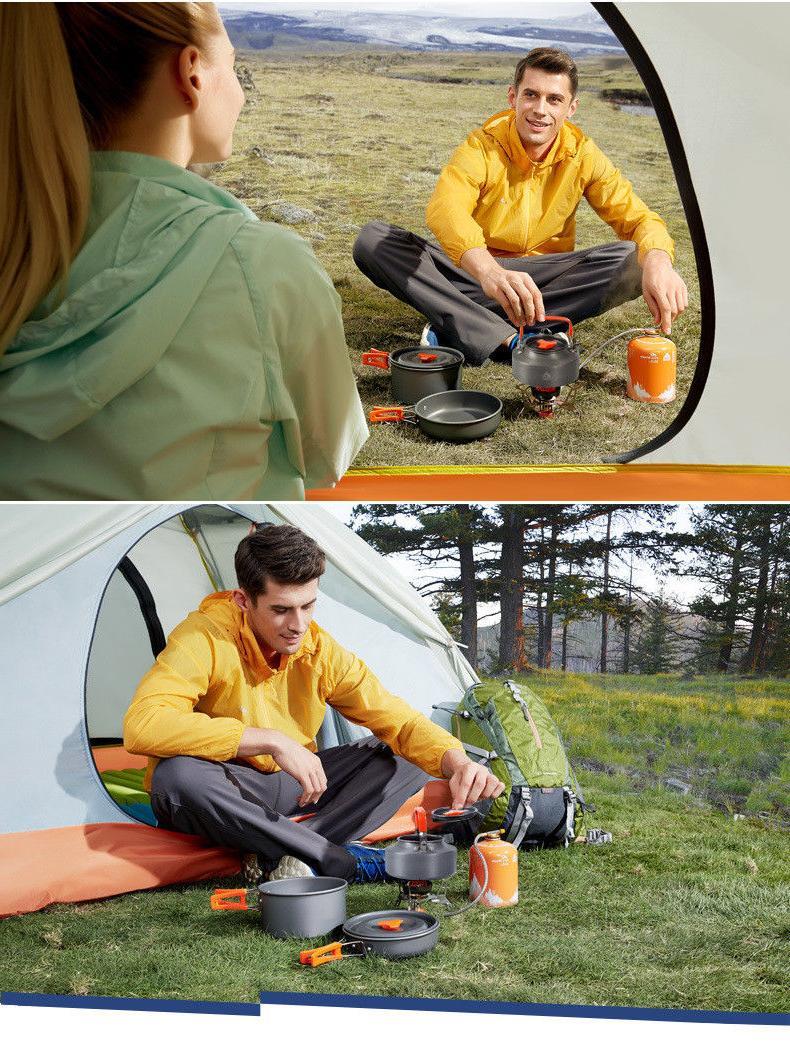 Camping Outdoor Cooking 3 Pieces Pot Pan Tea