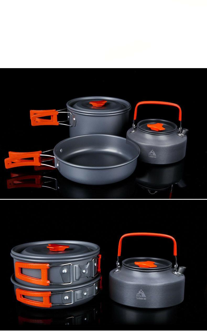 Camping Gear Outdoor Cooking 3 Pot Pan Tea