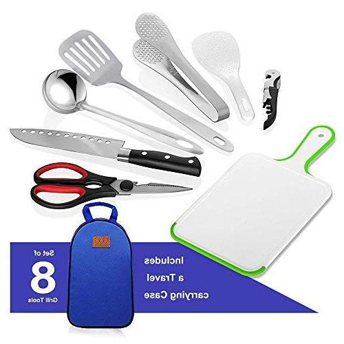 8Pcs Camping Utensil Travel Set - Cookware Utensils Travel with Water Cutting Tongs, Scissors, Knife