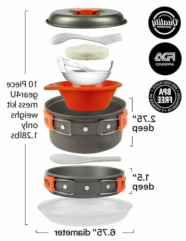 Camping Anodized Mess Kits Kitchen by