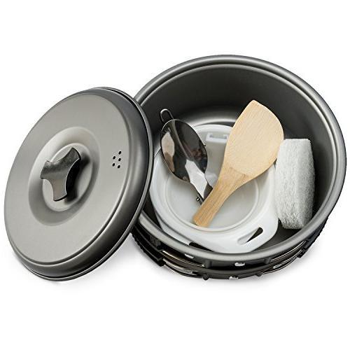 2 Camping Mess & Hiking Out Bag 10 Piece Lightweight, Pot Pan Bowls Free Spork,
