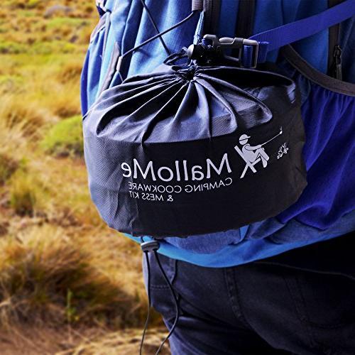 2 Liter Mess & Outdoors Bug Out Bag Cooking Equipment Lightweight, Compact, & Pot Pan Free Folding Spork, Bag