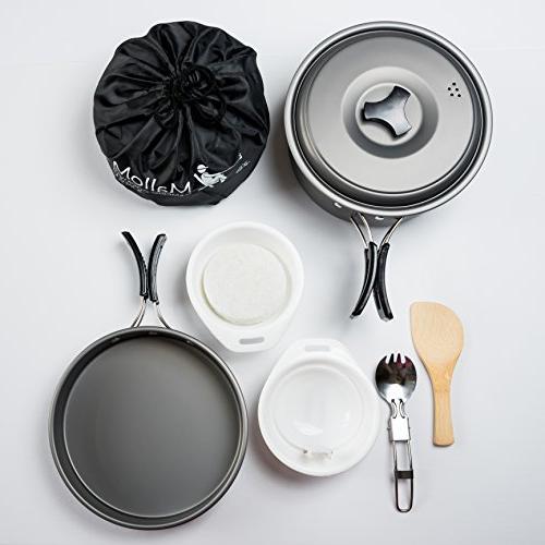 2 Cookware Mess Kit Gear & Outdoors Bug Out 10 Lightweight, & Durable Free Folding Bag
