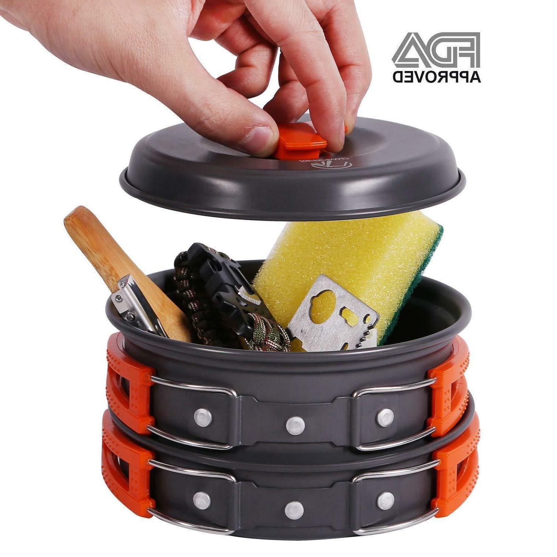 REDCAMP Camping Cookware Kit Camping Pots Pans