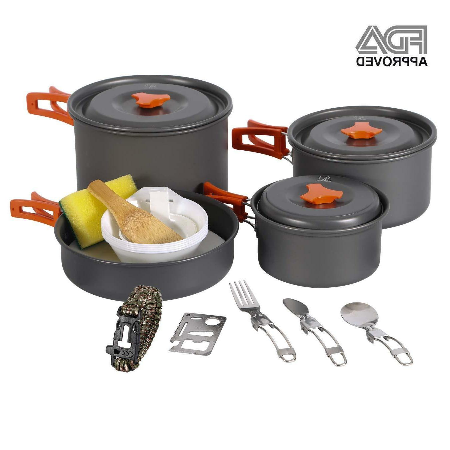 camping cookware mess kit backpacking cookset camping