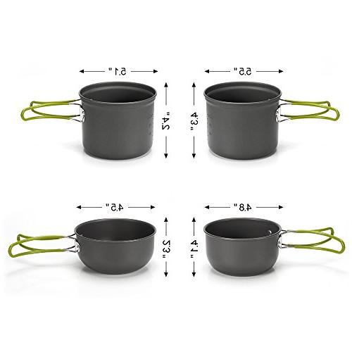 MALEDEN Camping Cookware Lightweight Cooking Mess Gear for Pot Pan Bowls, 9 Piece Out People