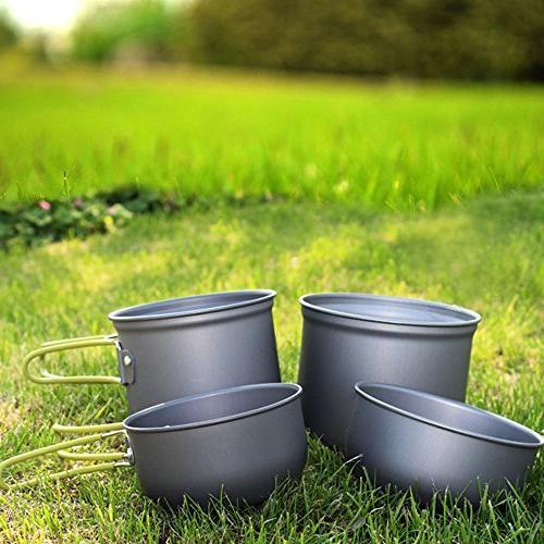 MALEDEN Camping Cookware Set, Lightweight Compact Cooking Mess Pot Bowls, Piece Out Bag People