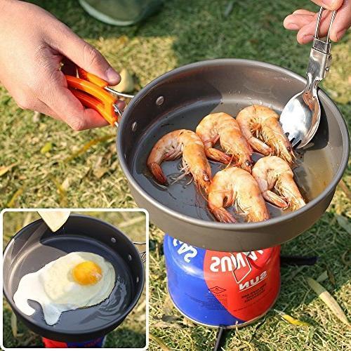 Camping Cookware Set backpacking Gear Outdoor Survival Utensils Equipment Utensils Mini , Lightweight Camping Gear Mess