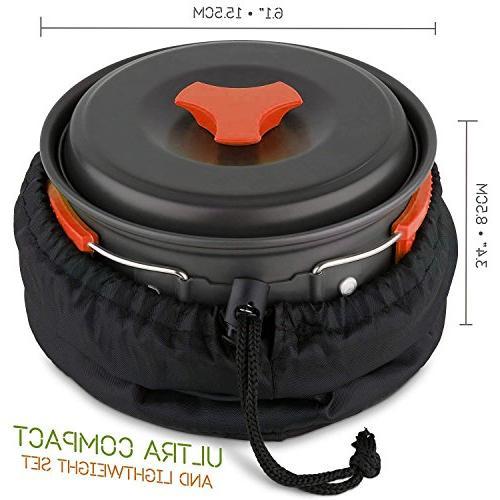 Camping Cookware backpacking Outdoor Cooking Equipment 15 Utensils Mini Non-stick pan , Lightweight ,Folding,Best Gear Mess