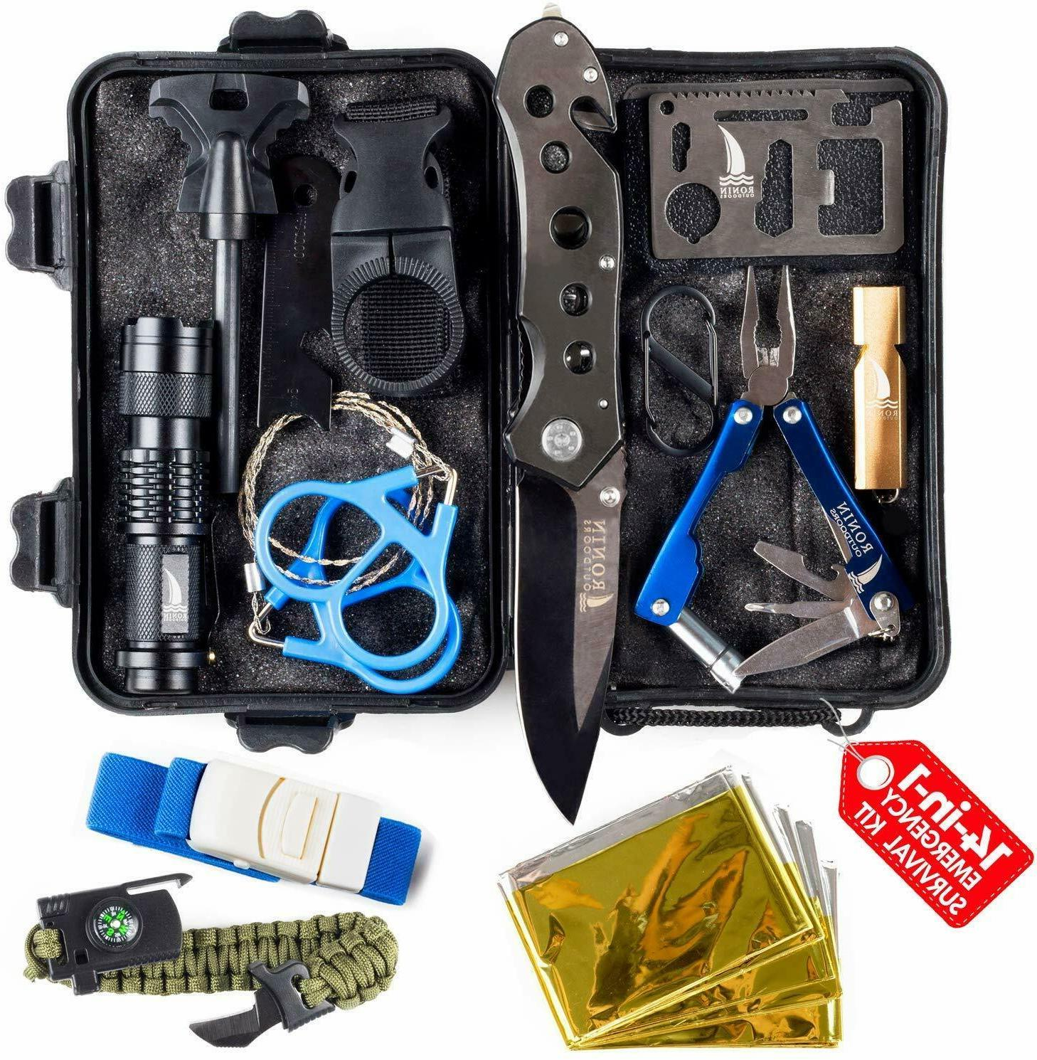 camping gear tactical survival kit 14 in