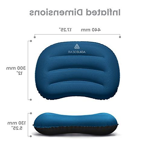 Agile Gear Pillow - Inflatable and - Packable, Ergonomic Neck Lumbar in Dark Blue