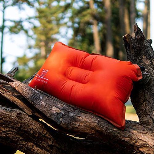 Wise Pillow Lightweight Self Inflating – & Pillow Best Support Travel Airplane Beach Hammock -Orang