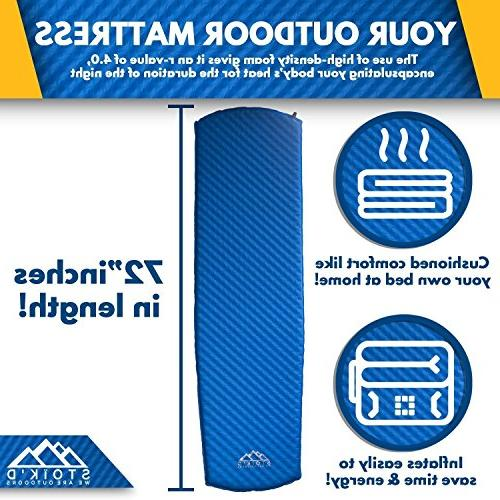 Sleeping Pad - Inflating Mattress Hiking, Car Sleeping - Premium Thick Plush Foam Carry Bag Included
