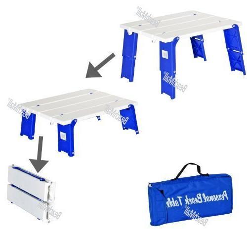 compact folding beach table