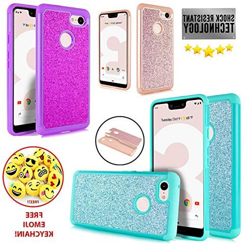 Compatible Google Pixel Bling Dual Layer Protective Shockproof Case Includes for 3 XL