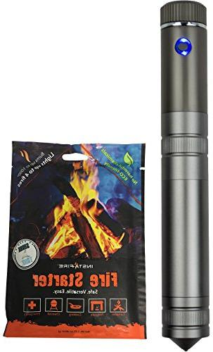 InstaFire Crossfire Lighter Starter Dual Arc Plasma with Grade Starter - Perfect Survival and Backpacking Needs