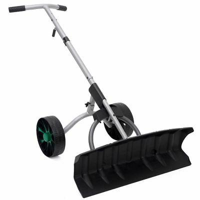 driveway Snow Blade Wheels Plow Adjustable Pusher Walk