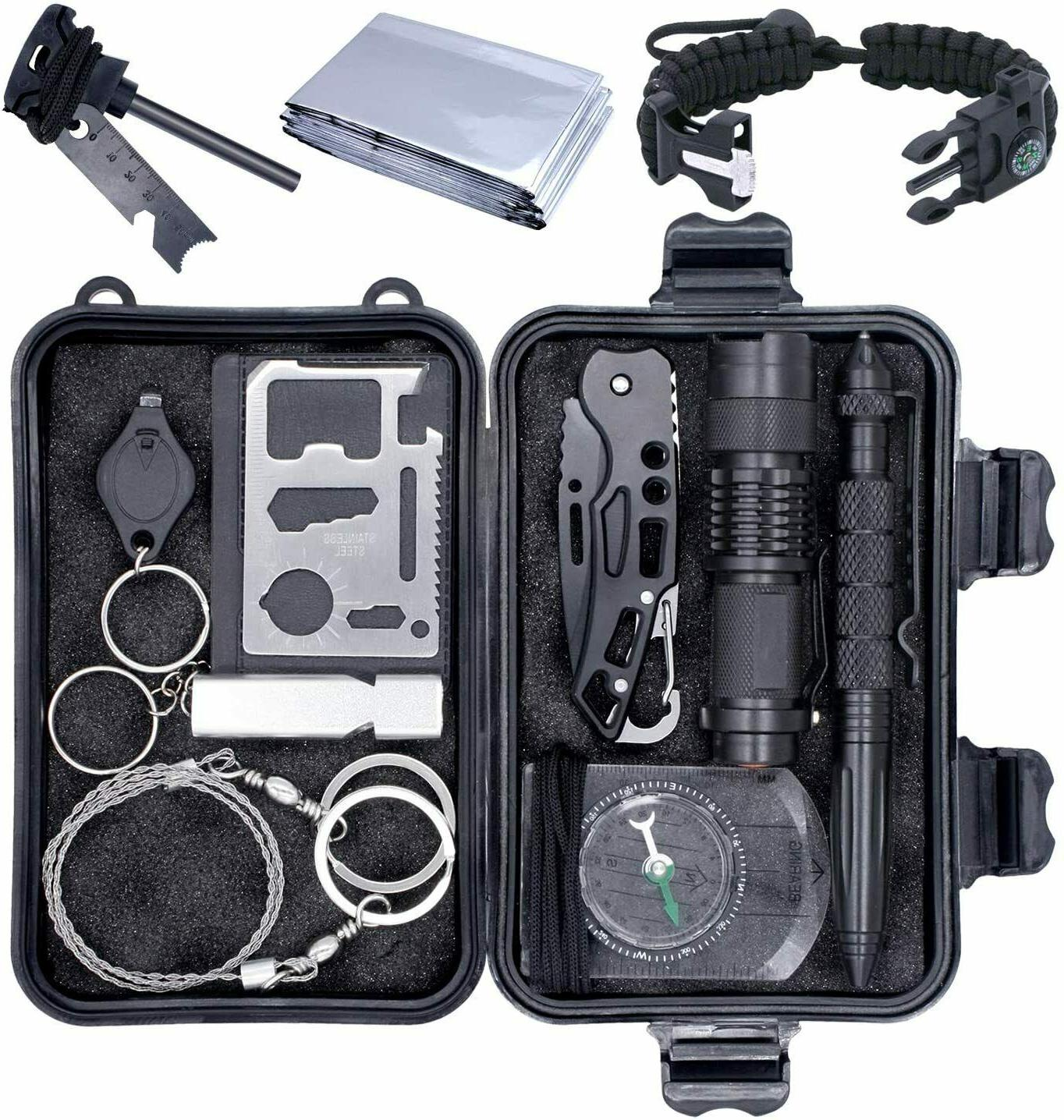 emergency outdoor survival gear kit camping hiking