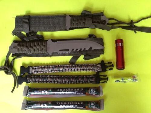 emergency survival gear kit knives paracord light