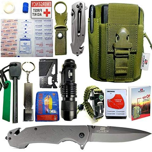 STEALTH SQUADS 42 1 KIT, PREMIUM TACTICAL KNIFE, FIRST AID CAMPING, EMERGENCY GEARS w/ BONUS