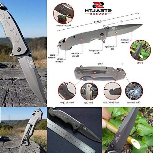 STEALTH SQUADS 42 1 KNIFE, EDC USE FOR CAMPING, OUTDOOR EMERGENCY GEARS BONUS