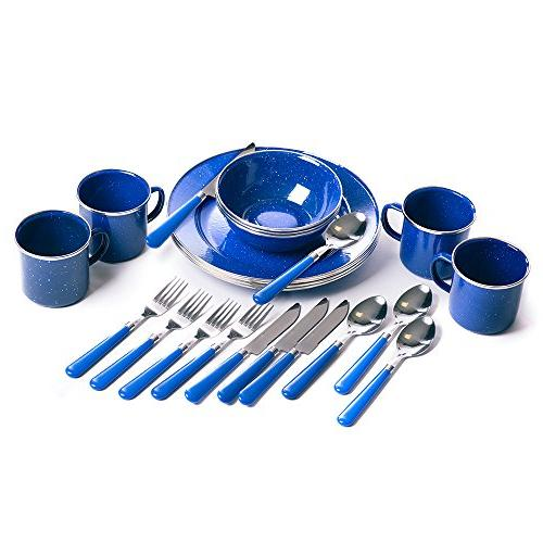 Enamel Camping Tableware Set 24 Pieces