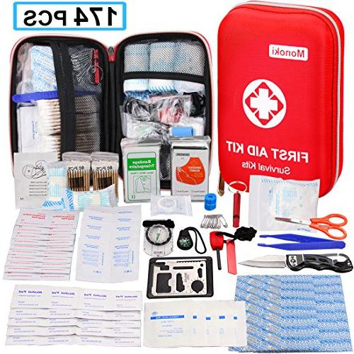 174 PCS First Aid Kit Safety Survival Kit Emergency Supplies