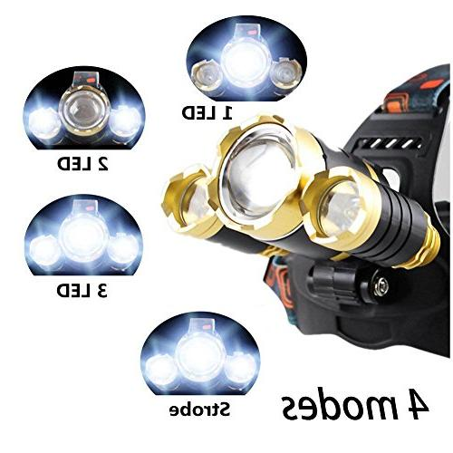 Bisgear Focusing Bright 3 Headlight Flashlight Mining Camping Gear