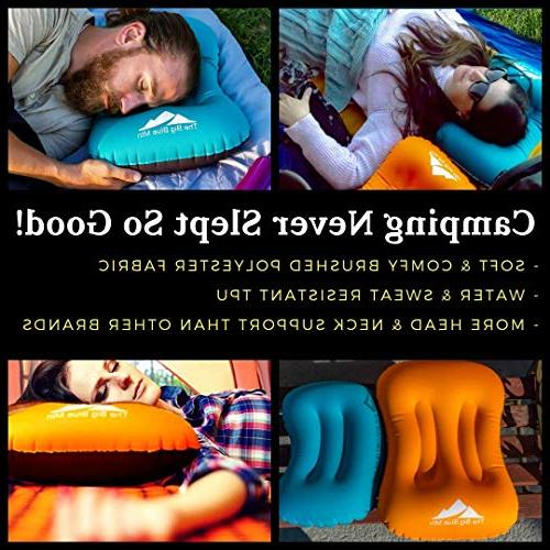 TheBigBlueMtn Inflatable Camping Pillow 2 Set With Lightweight Pouch And - Hiking Summit Gear Beach Sea Travel