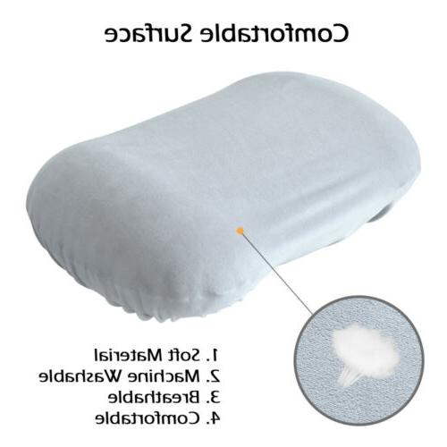Inflatable Neck Pillow Camping Sleeping Backpacking+Cotton