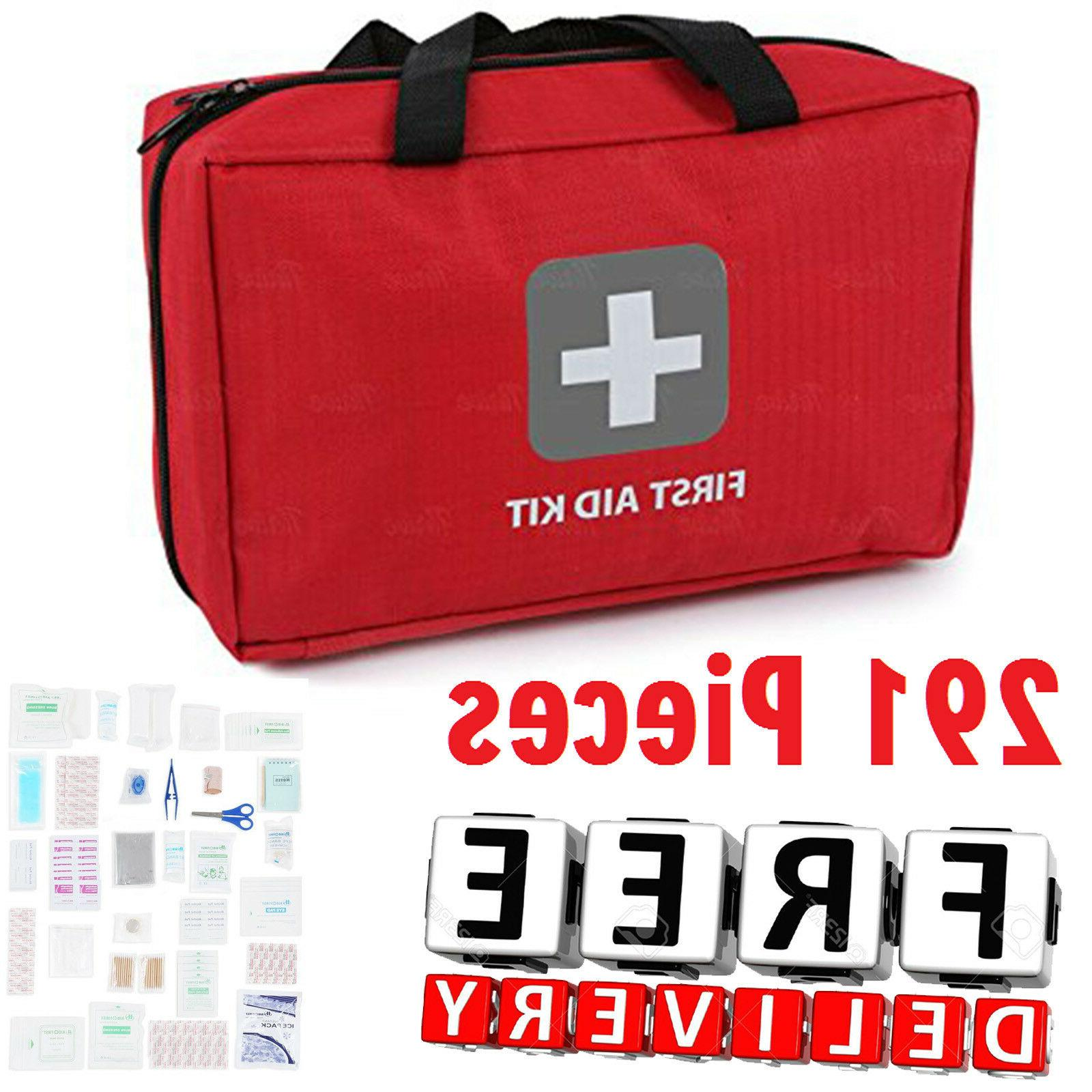 First Aid Kit 291Pc Fully Stocked Medical Bag Emergency Camp