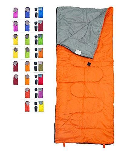 lightweight orange sleeping bag indoor