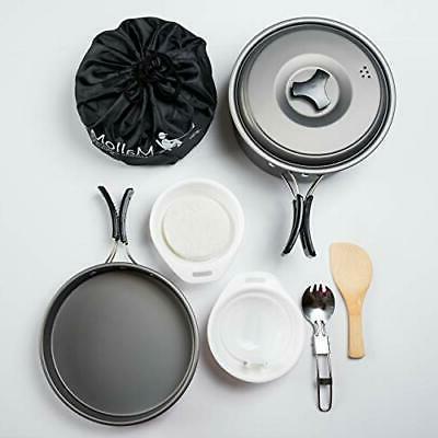 MalloMe Camping Cookware Mess Kit Backpacking Gear|Lightweig