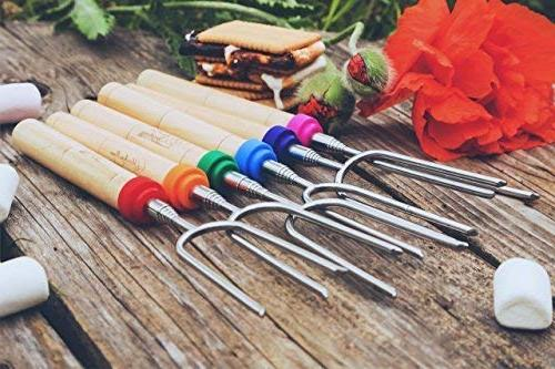 Carpathen Campfire Roasting for Marshmallow and Dog - 6 Smores Skewers Extra Long Heavy Forks for & Fireplace - Camping Grill Accessories