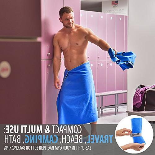 Set Microfiber Towels Dry Gym Workout Antimicrobial Shammy Outdoor Hiking Towel — Ultra Body, & — Mesh Bag