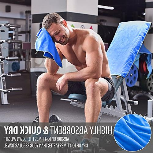 Set Towels Quick Gym Workout Travel Antimicrobial Outdoor Ultra Body, & Neck — Mesh Bag