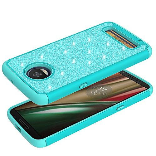 For Motorola PLAY, Play Cute Glitter Sparkle Dual Layer