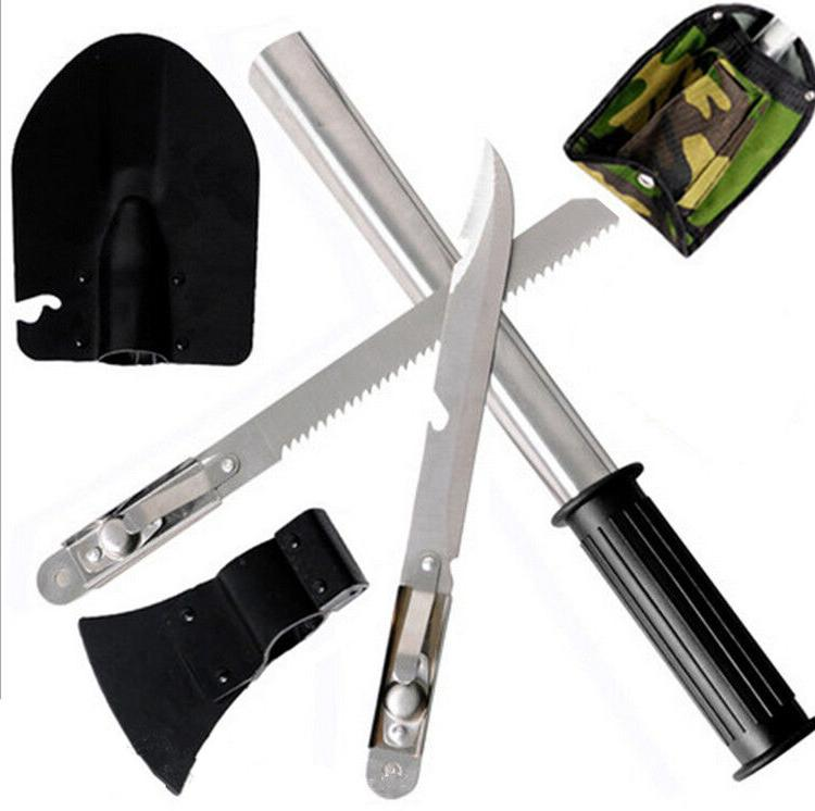 Outdoor 4 In1 Camping Hiking Survival Knife Shovel Axe Saw E