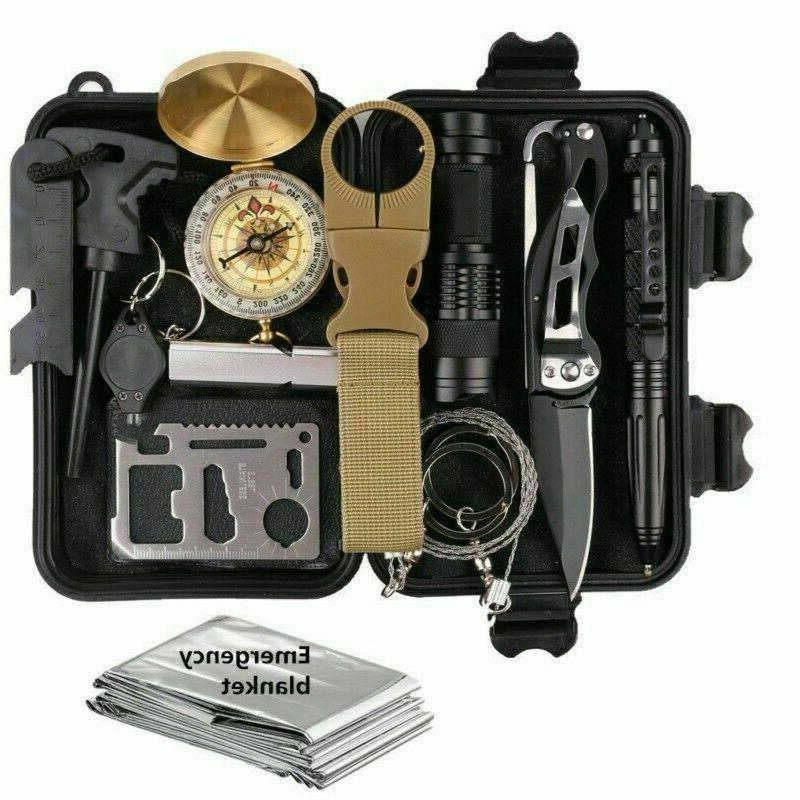 outdoor emergency survival gear kit camping hiking