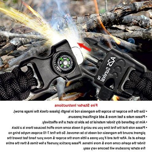 A2S Survival Bracelet K2-Peak – Kit with Embedded Compass, Fire Knife & Whistle of Release