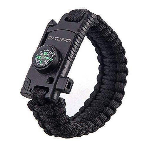 Paracord Survival Bracelet 500 LB Travelling Gear Kit - Parachute Stone,Stainless Fire