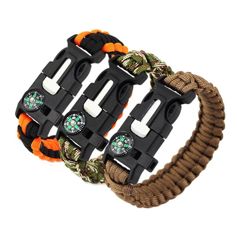 paracord survival bracelet compass flint fire starter