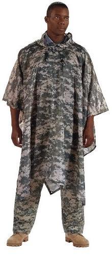 Rain Poncho - Military Style Rip-Stop Polyester, ACU-Digital